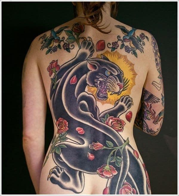 tatuagem pantera negra nas costas
