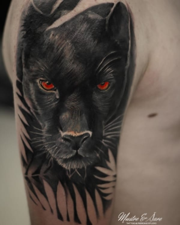 tatuagem pantera negra realista rosto