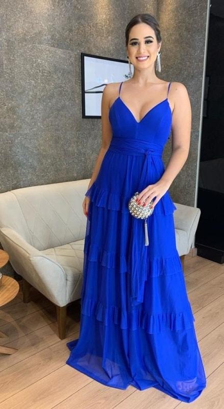 vestido de alcinha azul royal