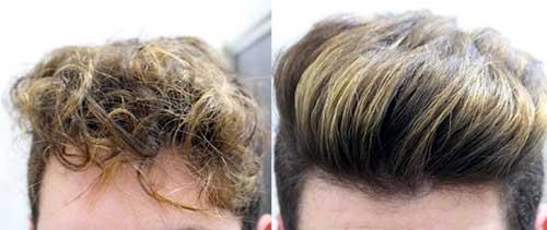 cabelo masculino com luzes alisado