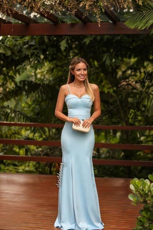 vestido azul serenity com decote coração