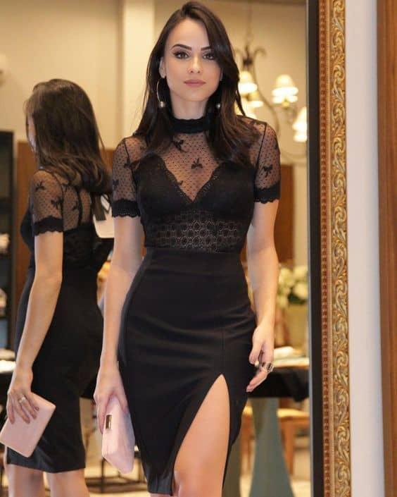 look com blusa preta transparente