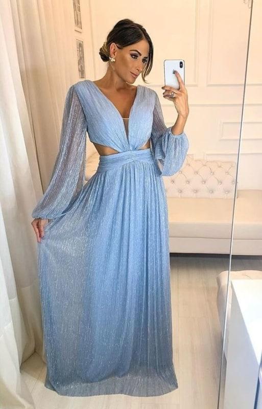vestido de manga longa azul serenity