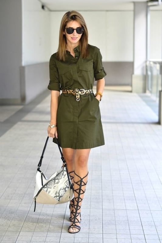 look com chemise verde militar