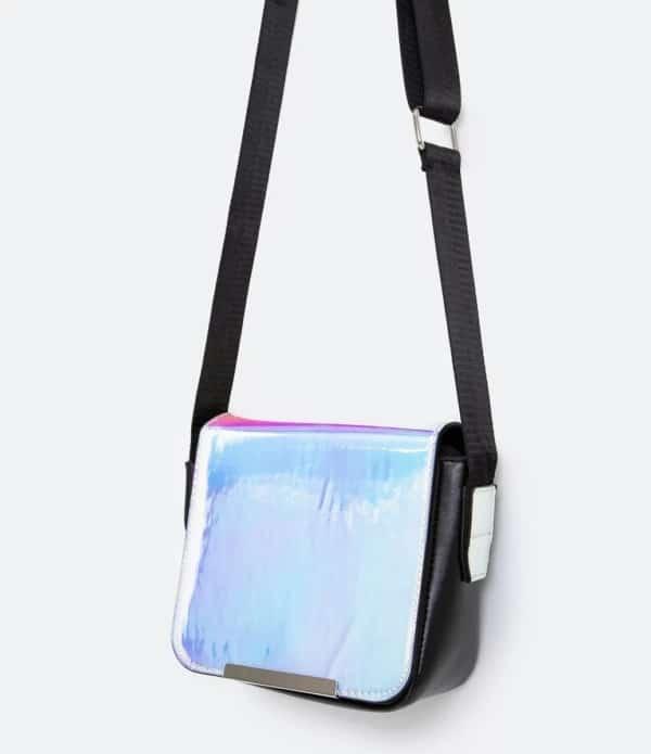 bolsa feminina transversal e holográfica