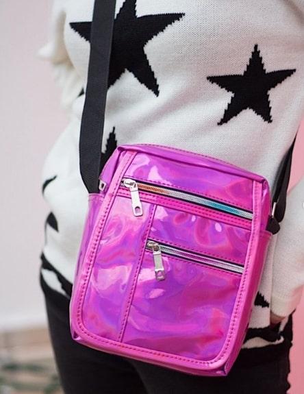 20 bolsa holográfica rosa