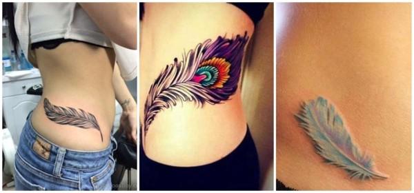 tatuagem na cintura de pena