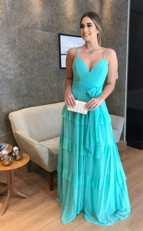 vestido longo azul turquesa com decote V