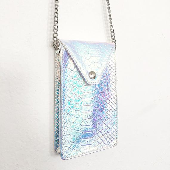 bolsa em couro holográfica