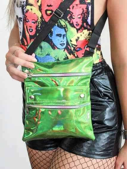 bolsa metalizada feminina