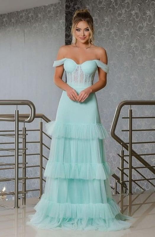 vestido longo azul tiffany com saia de tule