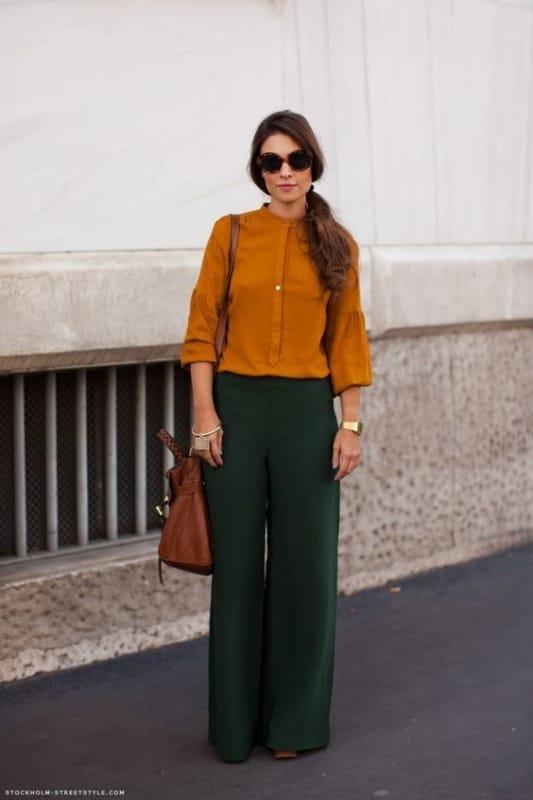 look com calça pantalona verde militar