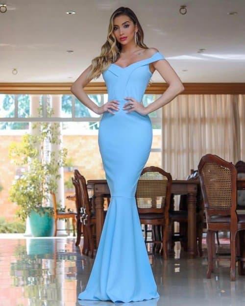 vestido sereia longo azul bebê