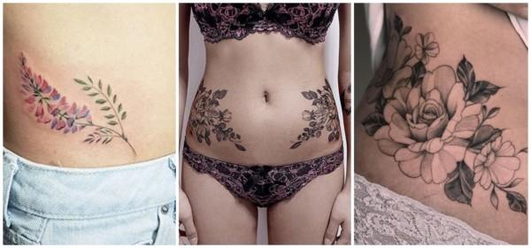 tatuagens de flores na cintura