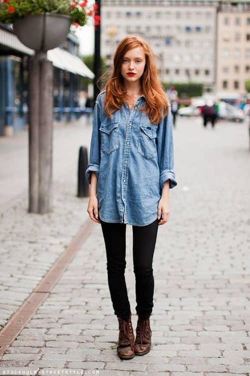 look indie com camisa jeans