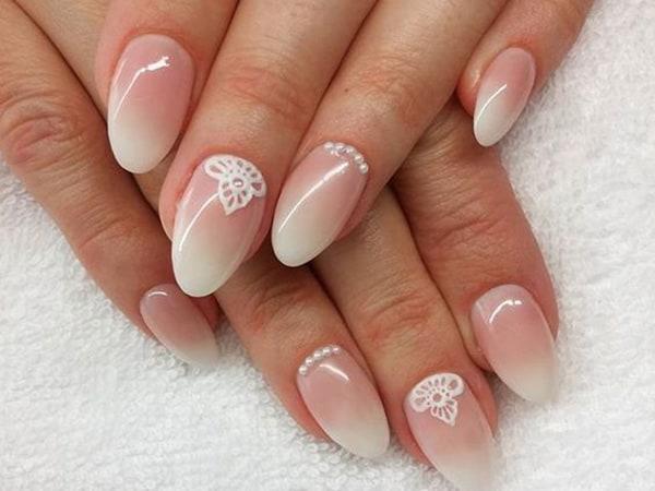unhas ombré com nail art