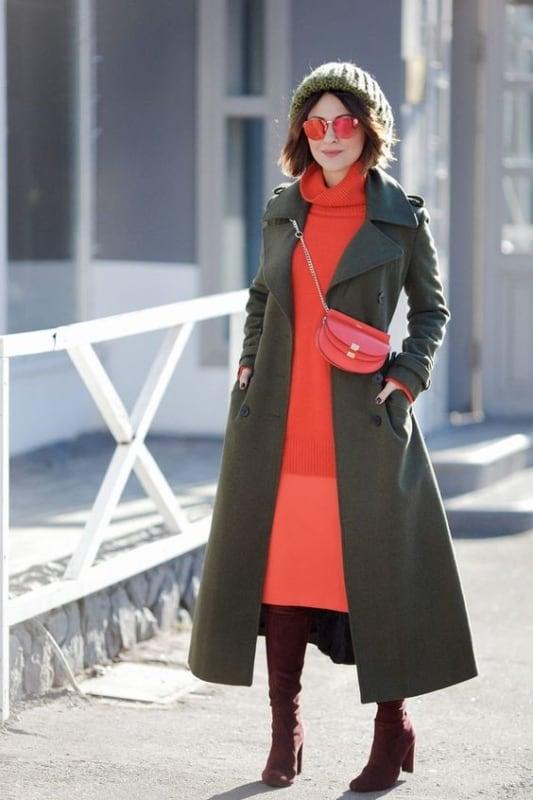 look de inverno com cores quentes