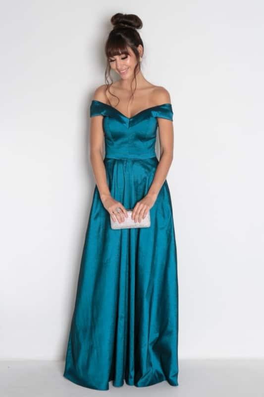vestido longo azul petróleo para madrinha