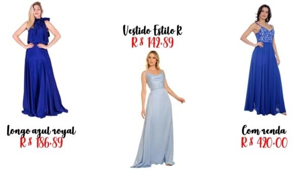 modelos e preços de vestido de madrinha azul