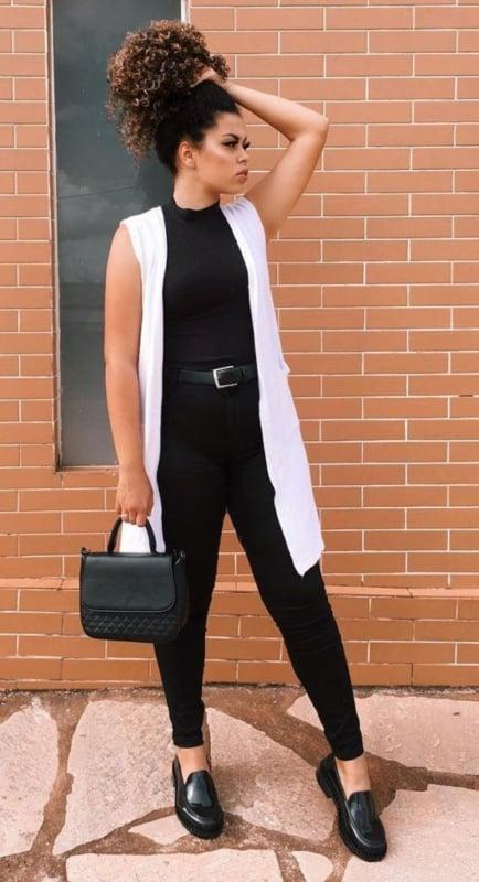 look minimalista preto e branco