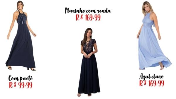 modelos de vestido de madrinha azul
