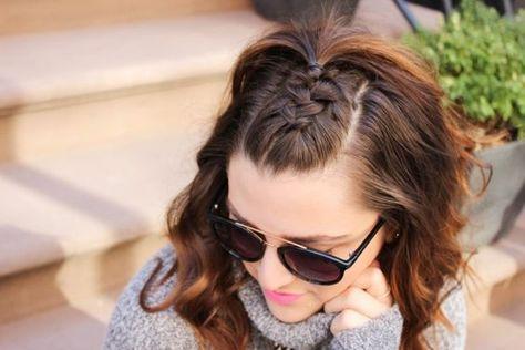 penteado semi preso com franja presa em trança embutida