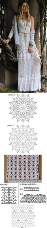 gráfico de saia de crochê longa