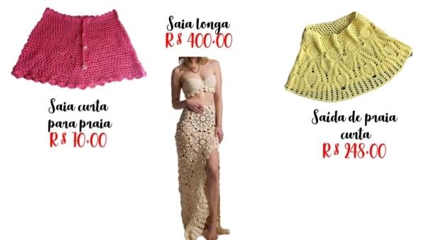 modelos e preços de saia de crochê