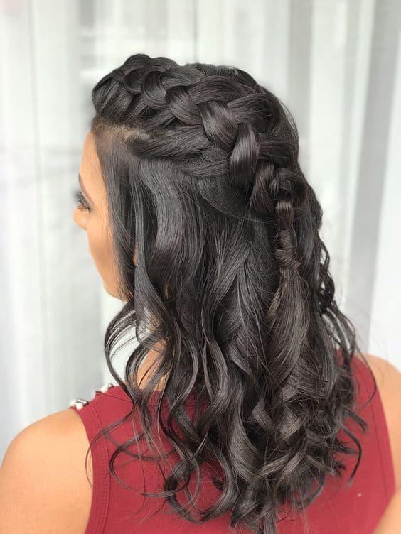 cabelo com babyliss e trança