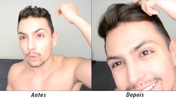 antes e depois cabelo alisado masculino