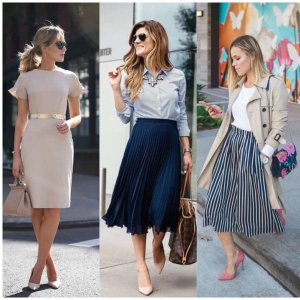Looks com saias e vestidos sociais