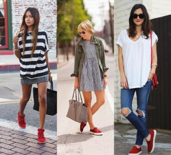 Looks com tênis vermelhos