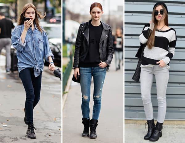 Looks femininos com calça skinny e coturno