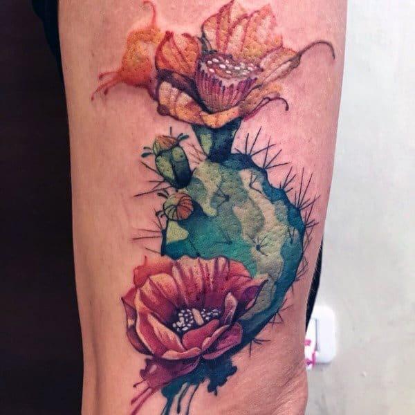 Outra ideia de tatuagem de cacto florido