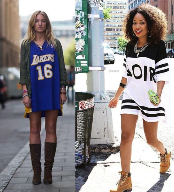 T shirt dress está na moda atualmente