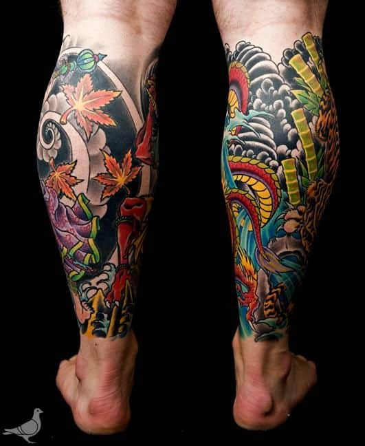 Tatuagem na Perna Fechada colorida