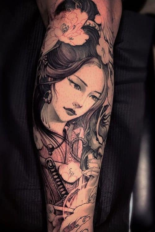 Tatuagem na Perna Fechada de gueixa oriental