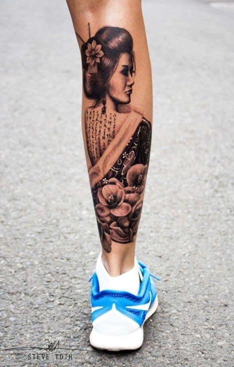 Tatuagem na Perna Fechada gueixa sombreada