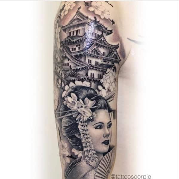 Tatuagem na Perna Fechada gueixa