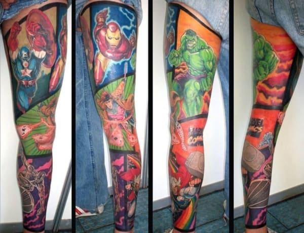 Tatuagem na Perna Fechada herois