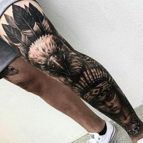 Tatuagem na Perna Fechada india