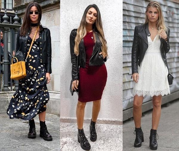 Vestidos de vários comprimentos com coturno