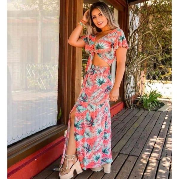cropped florido com saia longa