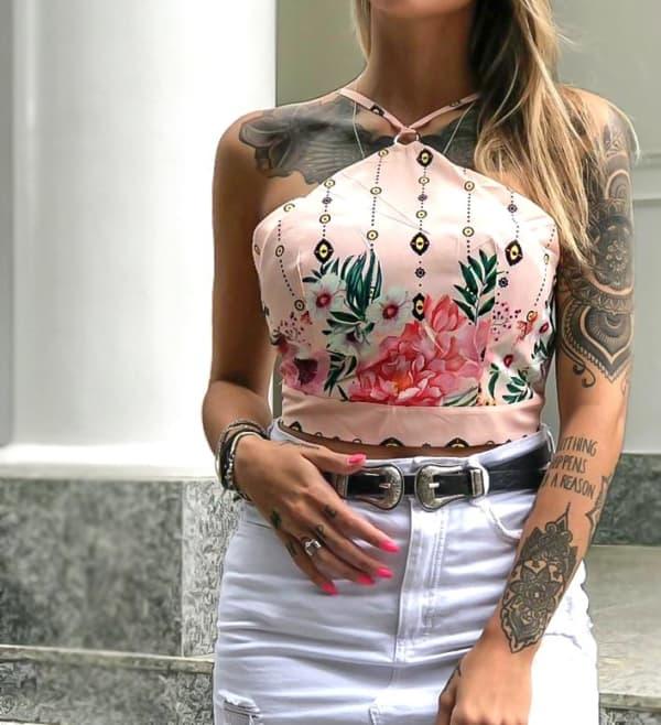 cropped florido rosa