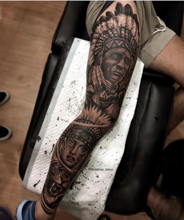 tattoo de india na perna