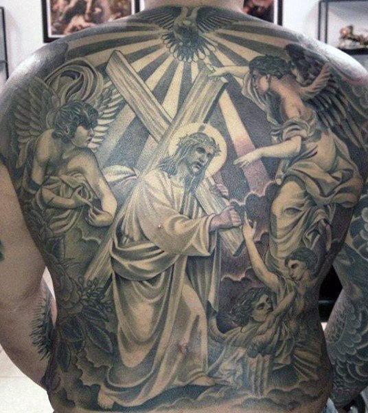 tatuagem de Jesus nas costas