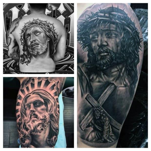 tatuagem do rosto de Jesus