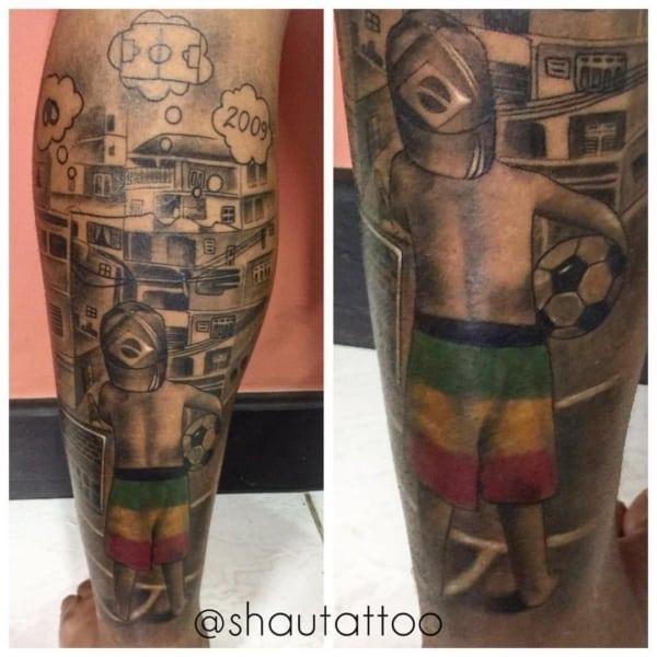 tatuagem favela na perna