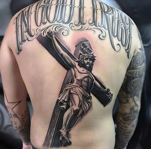 tatuagem grande 3D de Jesus
