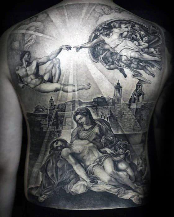 tatuagem realista e 3D de Jesus